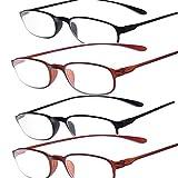 TR90 Reading Glasses - 4 Packs for Men and Women (+4.0)