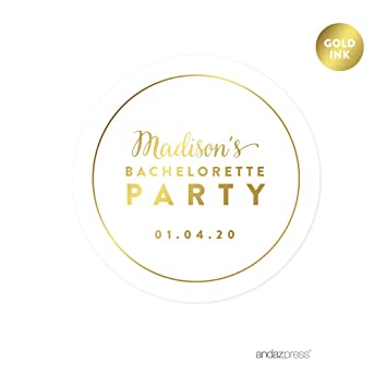 Andaz press personalized round circle wedding favor gift labels stickers metallic gold ink bachelorette