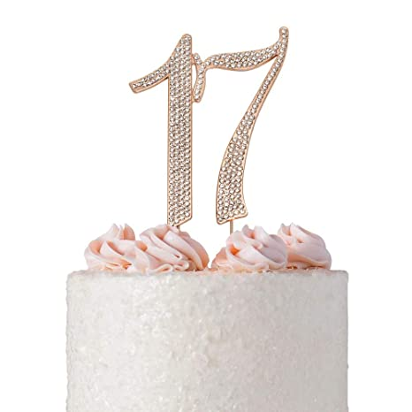 Astounding 17 Rose Gold Cake Topper Premium Sparkly Crystal Diamond Bling Personalised Birthday Cards Veneteletsinfo