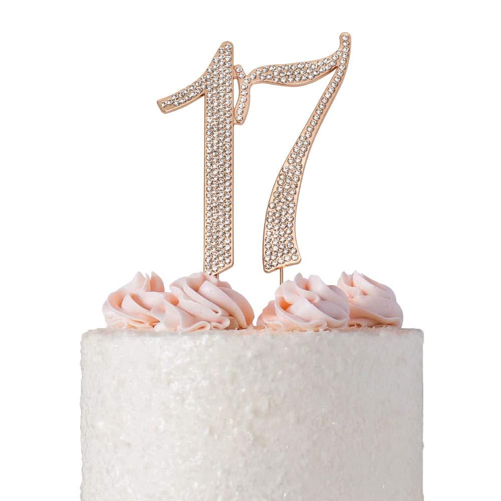 17 ROSE GOLD Cake Topper   Premium Sparkly Crystal Diamond Bling Rhinestone Gems   17th Birthday Party Decoration Ideas   Quality Metal Alloy   Perfect Keepsake