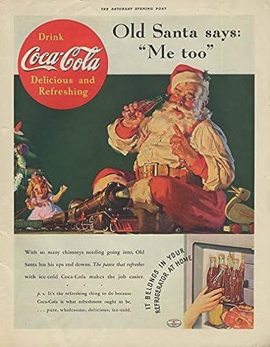 Amazon com: Old Santa says Me too Coca-Cola ad 1936 Sundblom