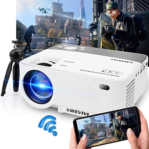 "Projector, Mini WiFi Projector 1080P Supported with Tripod, 5500Lumens 240"" Display Portable Outdoor Movie Projector, Wireless/Wired Mirroring Phone Projector for iOS/Android/TV Stick Home & Outdoor"