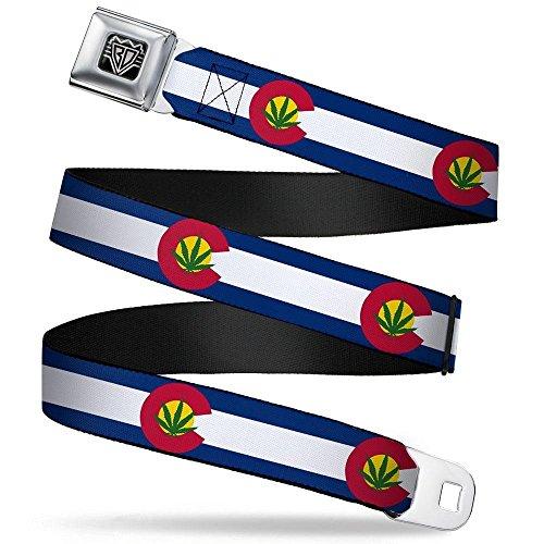 Buckle-Down Seatbelt Belt - Colorado Flag/Marijuana Leaf - 1.5