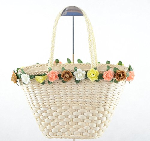 FTSUCQ Floral Paillette Handmade Crochet Straw Woven Shoulder Handbags Tote Beach Bag Satchels