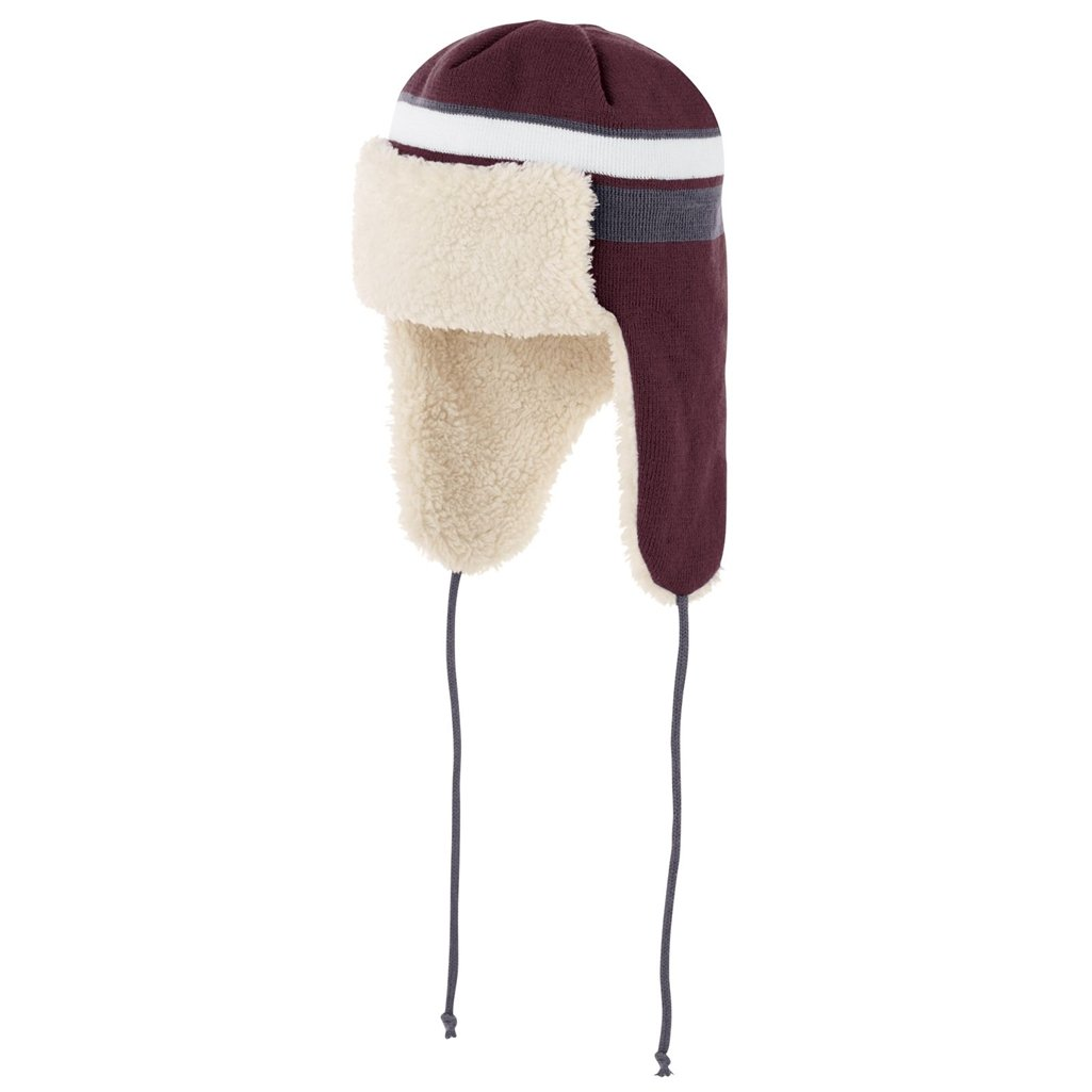 Holloway Comeback Trapper Beanie (One Size Fits Most, Maroon/White/Graphite) by Holloway