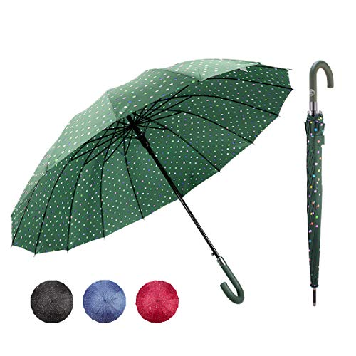 J handle large Umbrella Polka Dot 16 Ribs Quick-drying Automatic Open Windproof Waterproof Stick Umbrellas for Men Women Gifts,Green ()