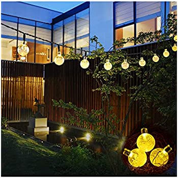PeterIvan Solar Fairy Lights - Globe String Lights with 30 LED Fairy Bubble Crystal Ball Lights for Garden Decoration, 20ft Waterproof Bulb String Lights Charged by Sunlight