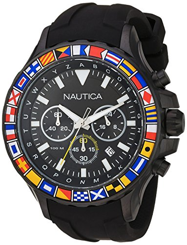 Nautica Men's NST 1000 Flags Stainless Steel Quartz Watch with Silicone Strap, Black, 20 (Model: NAD21011G) (Box Watches Nautica)