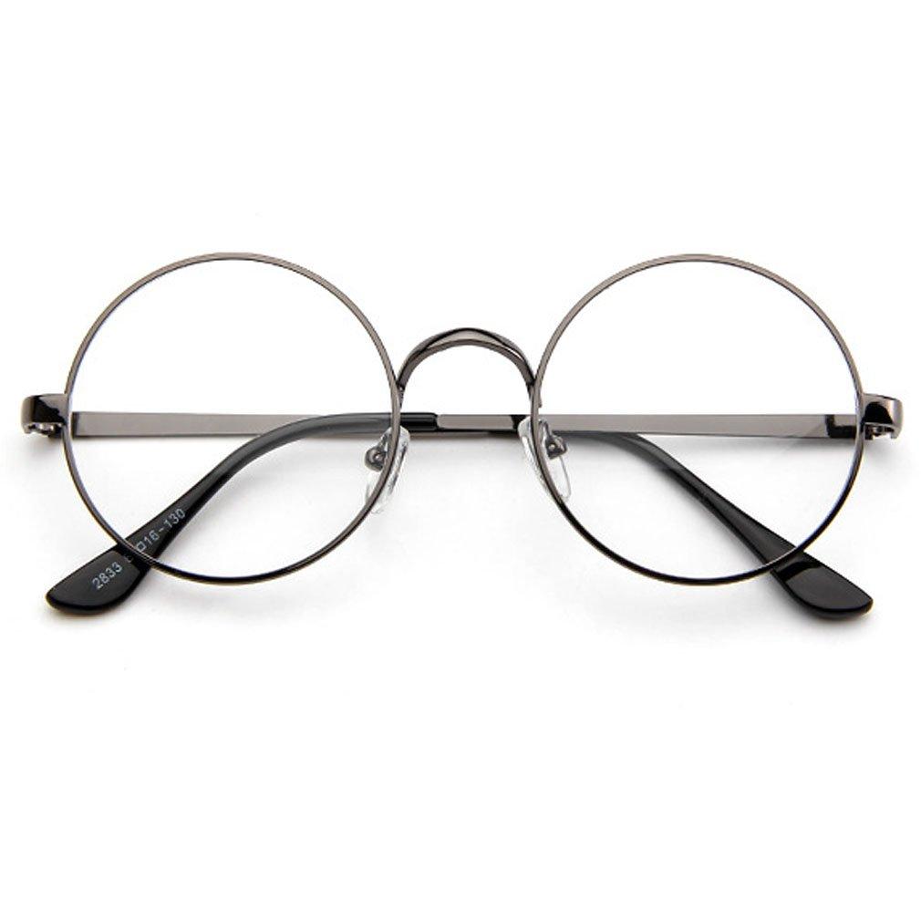 a72f55b10041 Monkey Womens Korean Style Fashion Retro Round Plane Mirror Clear Lens  Sunglasses(C4)  Clothing