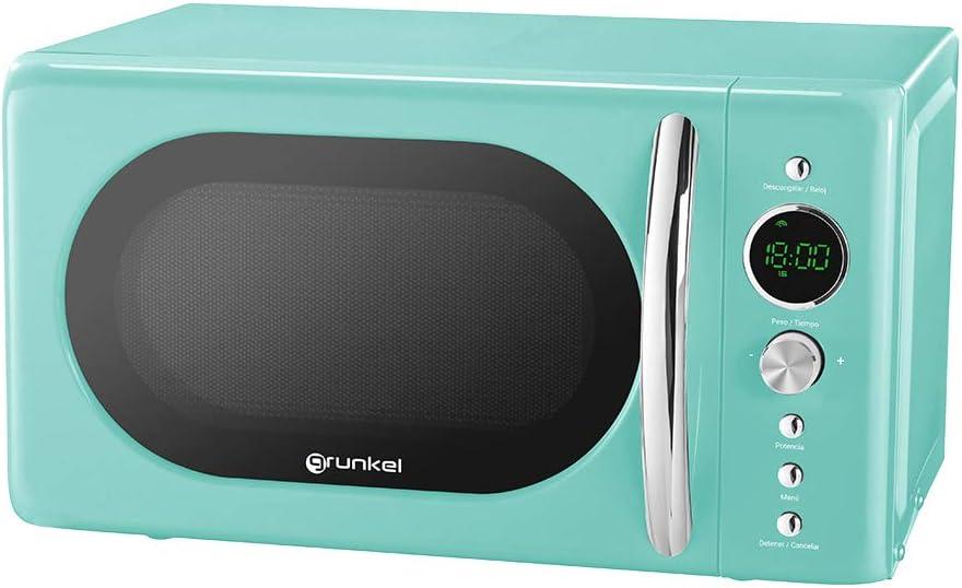Microondas digital verde agua de 20 litros Serie Vintage, 700W, 6 niveles de potencia, Función descongelación según peso - Grunkel MW-DG V