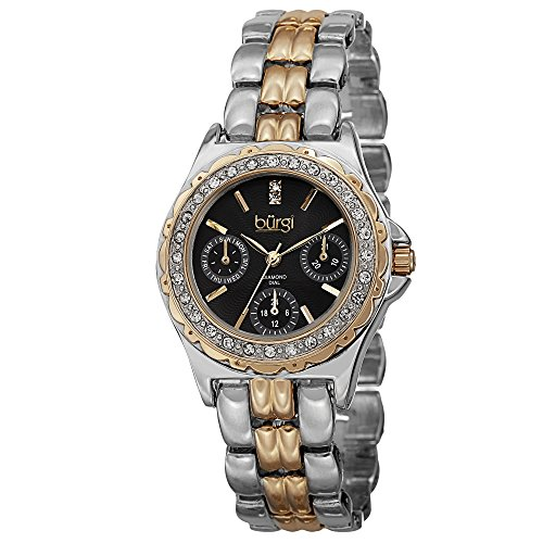 - Burgi Women's BUR117TTG Diamond & Crystal Accented Guilloche Black Dial Yellow Gold and Silver Bracelet Watch