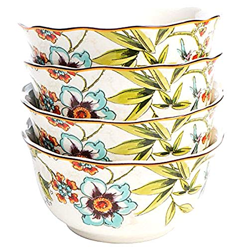 "222 Fifth Bella Vista Floral Blooms Soup/Cereal/Dessert Bowls (Set of 4) 8.5"" Diameter 