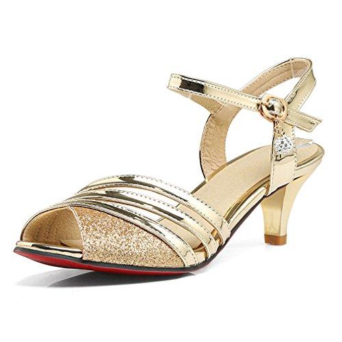 4f4b04882 Las mujeres sandalias Oro Plata peep toe sandalias de Gladiador Verano Mujer  zapatos mujer sandalias de
