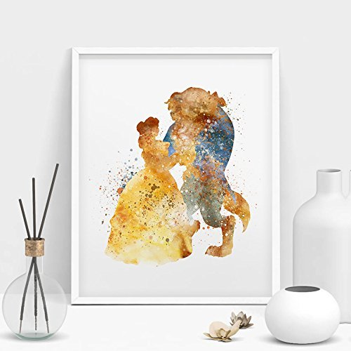 Princess Belle Beauty and The Beast Home Disney Watercolor Prints Wall Art Anniversary Gifts Baby Unframed Wall Decor Living Room Bedroom Bathroom Artwork Kids wall art (182) (Bella Baby Art)