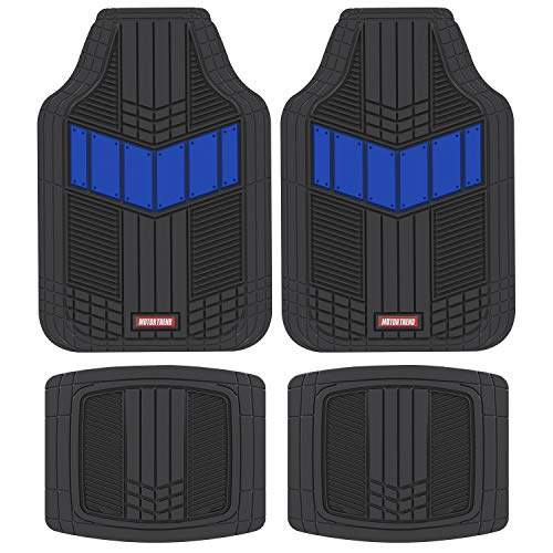 Motor Trend MTX101 Blue DualFlex Two-Tone Rubber Car Floor Mats for Automotive SUV Van Truck Liners - Channel Drainer All Weather Protection (06 Acura Rsx Coupe)