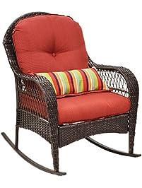 Tangkula Outdoor Wicker Rocking Chair Porch Deck Rocker Patio Furniture W/  Cushions