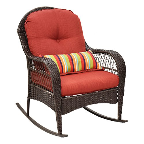 Tangkula Outdoor Wicker Rocking Chair Porch Deck Rocker Patio Furniture w/ Cushions (Wicker Porch Chairs)