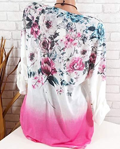 Dcontracte Blouse Plus en Mode Fleur Chemisier Manches Imprimer Femme Pink1 Top la Size Vrac Xinwcang Longue T Tank Chemise Shirt gxwXqA74
