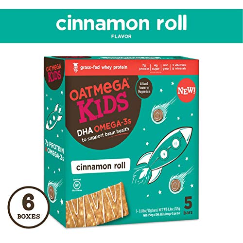 Oatmega Kids Protein Bars, Healthy Snack with Omega 3, Cinnamon Roll, 6 Boxes of 5 Bars