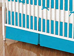 SheetWorld - Crib Skirt (28 x 52) - Turquoise Woven - Made In USA