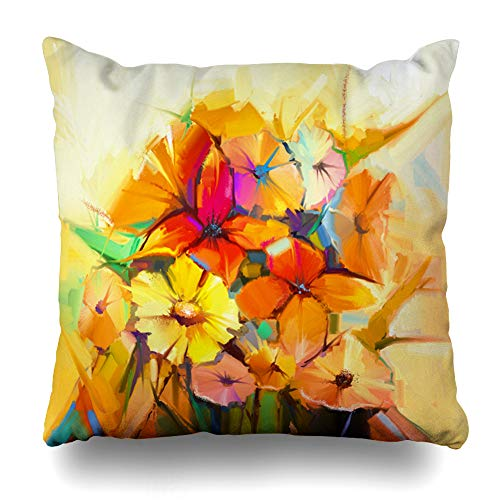 Ahawoso Throw Pillow Cover Natural Abstract Spring Flower Still Life Modern Yellow Pink Red Gerbera Daisy Daffodil Close Decorative Pillowcase Square Size 20