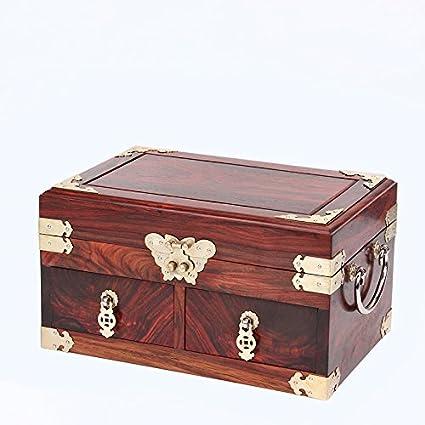 GFEI Cajas de joyas, caoba retro cajas decorativas, cajas de joyas, perlas de