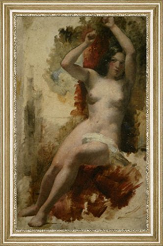 "Study of a Seated Nude by William Etty - 15"" x 22"" Framed Premium Canvas Print"