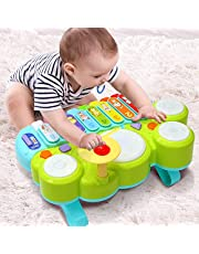 Baby musikinstrument Ohuhu piano tangentbord för barn, multifunktionella leksaker barn trumma set, baby lärande leksaker spädbarn barn barn jul födelsedagspresent