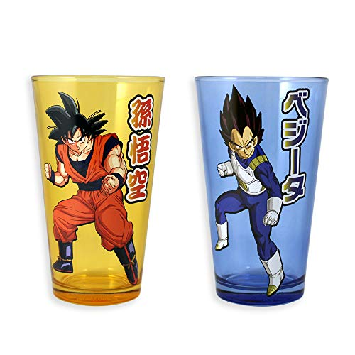 Set of Two Official Dragon Ball Z Goku and Vegeta Pint Glasses]()