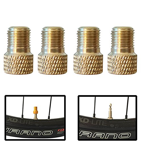 Set of 4 Bicycle Presta Valve Adapters for Road, Mountain, Track, & Fixie Models ( 8 Color Options ) (Brass (Shrader Valve Tube)