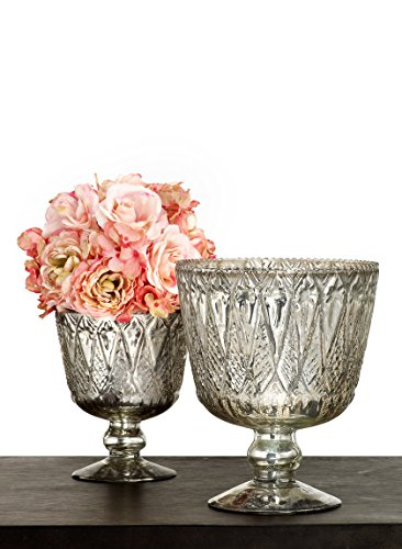 Serene Spaces Living Patterned Silver Glass Coupe Vase - Stylish Vase with Vintage Look, 7