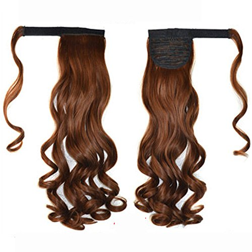 Jessie storee Long Wavy Curly Ponytail Magic Sticker Drawstring Ribbon Thick Hair Extension Pony Wig Tail Wrap Natural Looking Horsetail One Piece Hairpiece Women Lady Girl Thicker Hair Carnival (D)