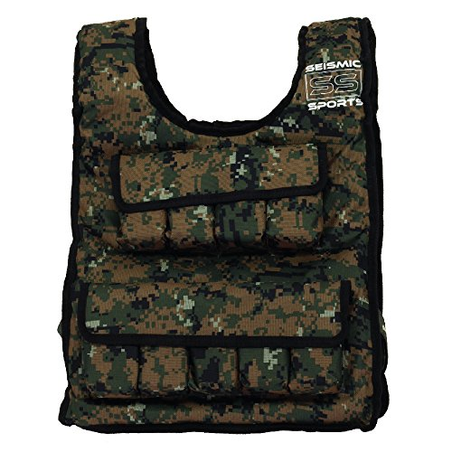 Seismic Sports SS40VBK Adjustable Weighted Vest 40 lb Camouflage for Crossfit, HIIT, Strength, Cross Training and Cardio Exercise