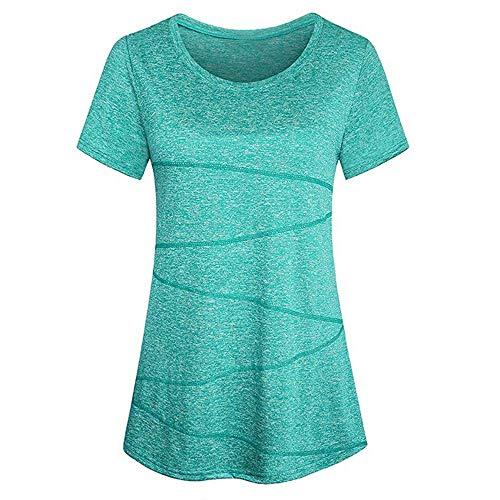 HYIRI Women'ss Simple Blouse Short Sleeve Yoga Tops Activewear Running Workout T-Shirt Green (Green T-shirt Cloud)