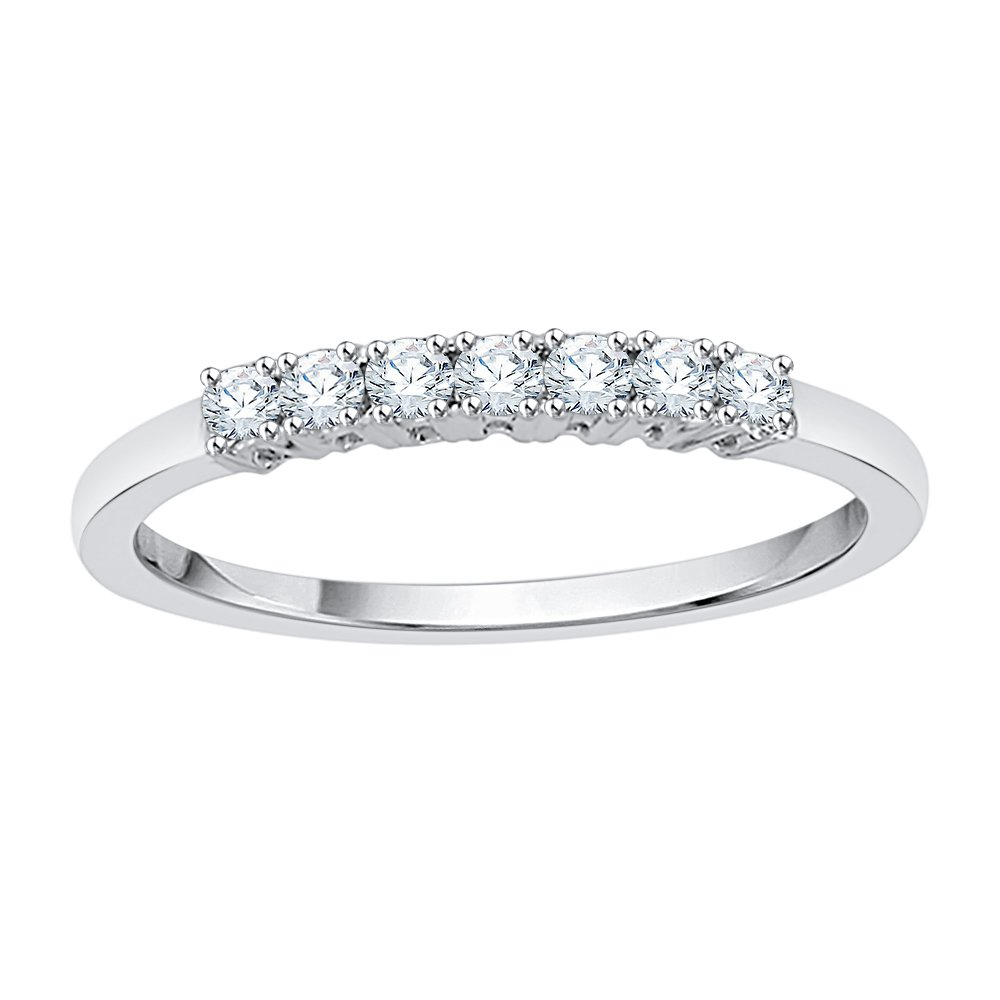 Diamond Anniversary Ring in Sterling Silver (1/4 cttw) (GH Color, I2-I3 Clarity) (Size-6)