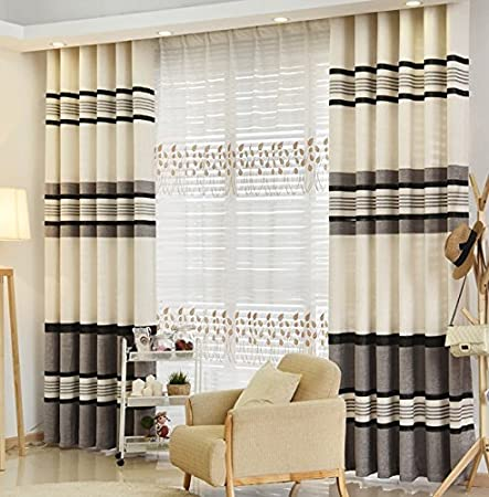 Living Room Curtains Bedroom Curtains Hook Curtains Modern Simple Black And  White Striped Curtain Embroidered Thicker