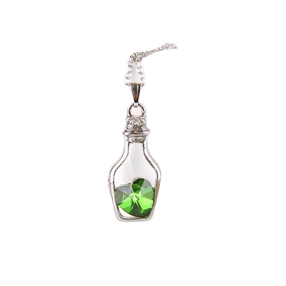 Women Crystal Necklace,Alalaso Fashion Popular Love Drift Bottles(Green)
