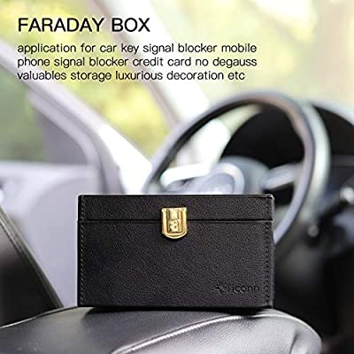 TICONN Faraday Box + Bag Bundle, Car Key Fob Protector, Signal Blocker for Keyless Fob, RFID Signal Blocking Pouch Cage: Car Electronics