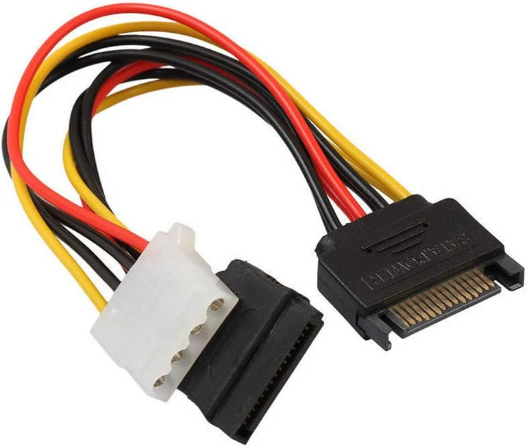 ANRANK 15Pin Male Serial to 15Pin IDE Molex Female + 4Pin SATA Female Power Adapter Cable