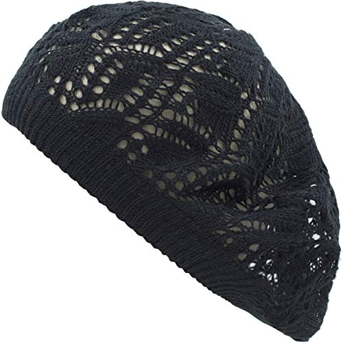 - an Womens Black Leaf Crochet Comfortable Light Beanie Beret Hat