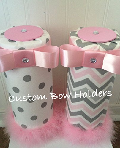 Headband Holder - One Headband Organizer Pink & Grey Chevron OR Grey Polka Dot - Carousel Designs - Polka Dot Wall Letters
