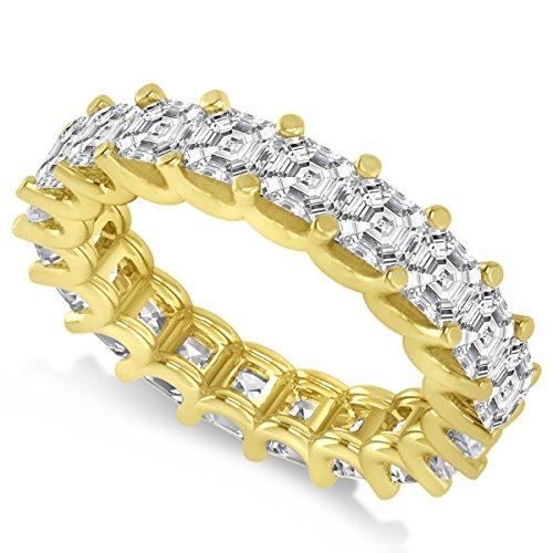 Allurez Asscher-Cut Diamond Eternity Wedding Band Ring in 14k Yellow Gold (5.00ct)