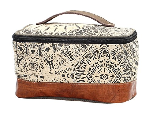 Myra Bag Flowers Leather & Upcycled Canvas Shaving Kit Bag S-1119