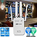 WiFi Extender Internet Booster Signal Extenders Wireless Repeater, 1200Mbps Dual-Band 2.4 / 5G