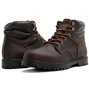 KINGSHOW Men's 1366 Water Resistant Premium Work Boots (11 D(M) US Men's, Brown1366)