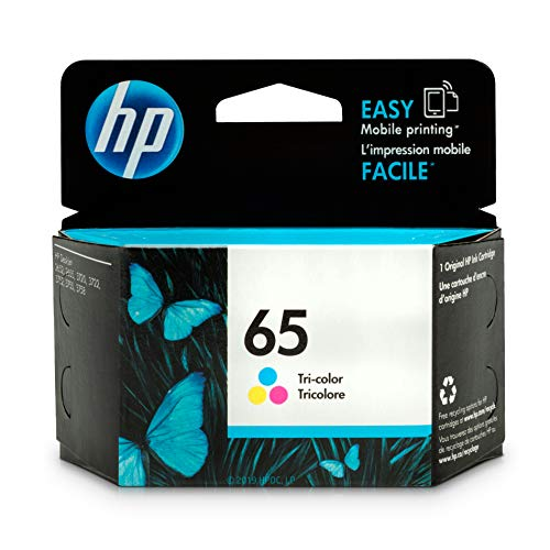 HP 65 Tri-color Ink Cartridge (N9K01AN) for HP DeskJet 2624 2652 2655 3722 3752 3755 3758 ()
