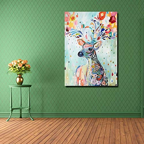 BFY Unframed Modern Abstract Oil Painting Colorful Elk Huge Wall Decor Art On Canvas