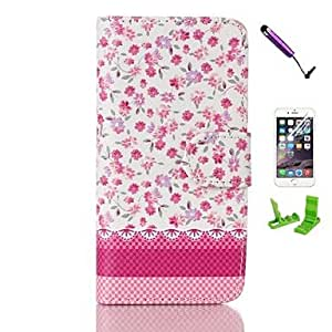 SHOUJIKE Rose Rugosa Pattern PU Leather Case with Screen Protector and Stylus for iPhone 6 Plus , Rose