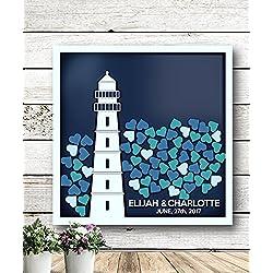 Lighthouse Guest Book - Alternative Wedding Guest Book - 3D Wedding Guest Book - Personalized Wedding Guest Book - Rustic Wedding Guest Book - Unique Guest Book - Shadow Box