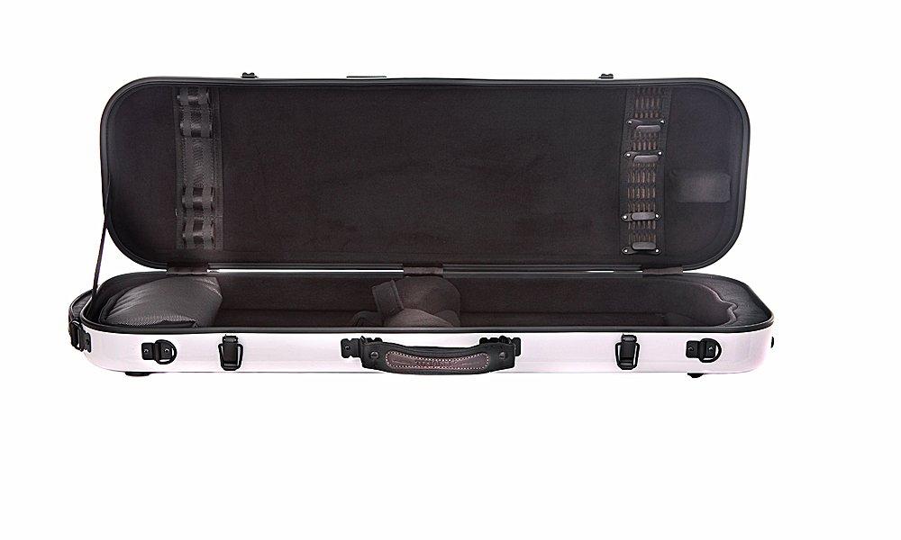 Tonareli Violin Oblong Fiberglass Case- VNFO 1000 White 4/4 by Tonareli Music Supply (Image #2)